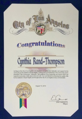Certificate of Congratulations from the Office of Eric Garcetti (Mayor of Los Angeles) received August 2014 - R-TDesign.com